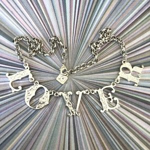 Linked LOVER Letters Necklace Silver-Tone